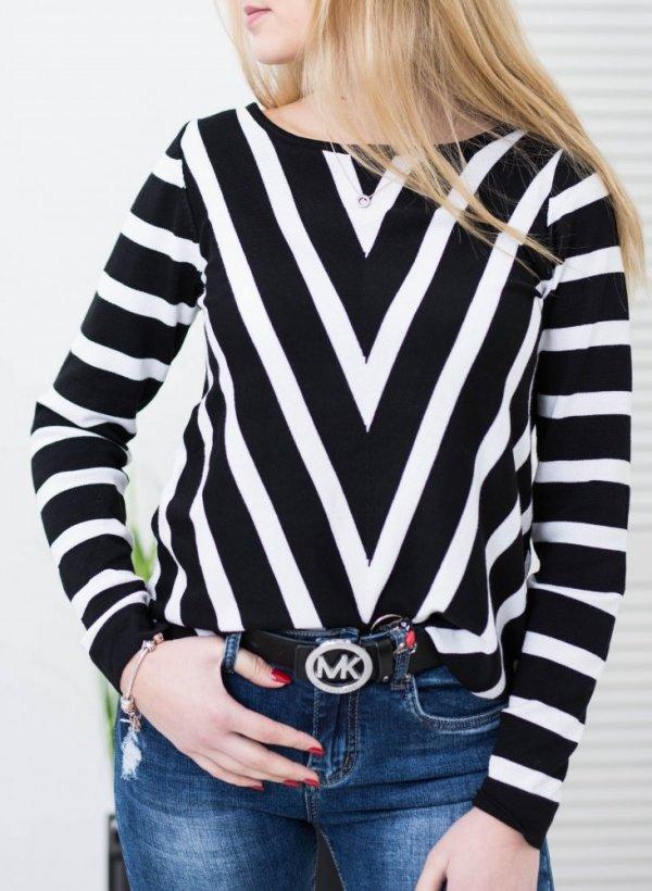Sweter w czarno białe pasy Jean