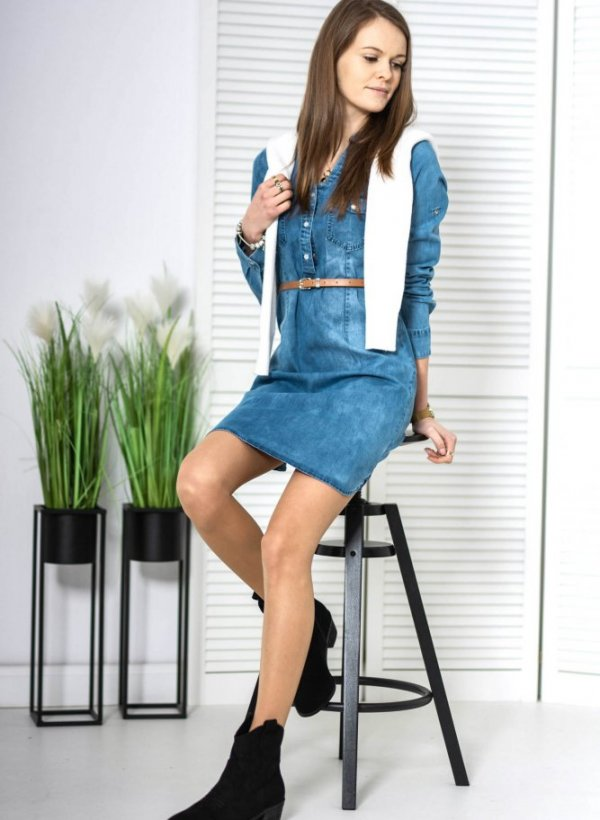 Sukienka jeansowa denim z paskiem Tiqa