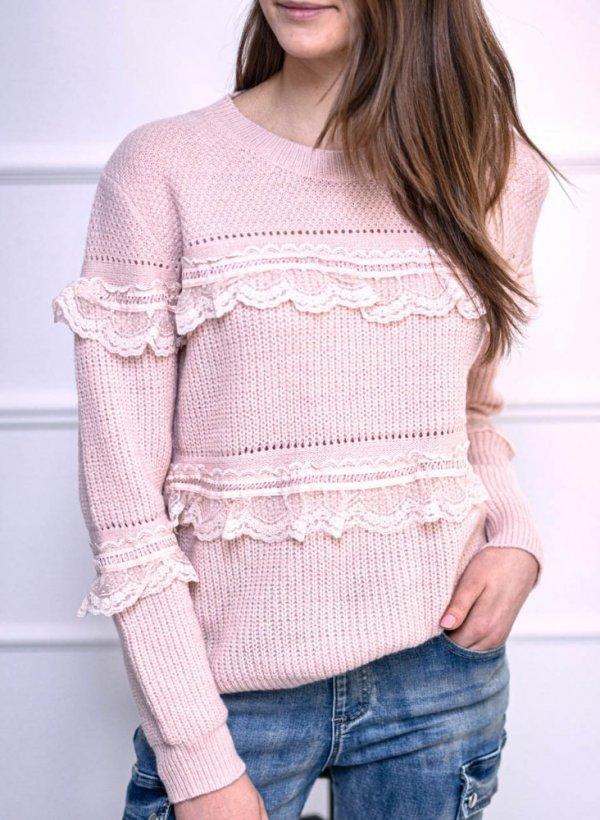 Sweter z falbanami pastelowy róż