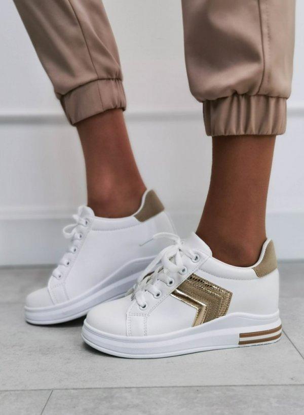 Buty sportowe na podwyższeniu white/gold