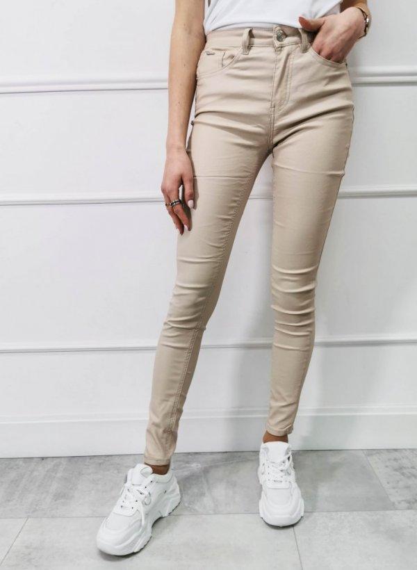 Woskowane Spodnie Angela light beige