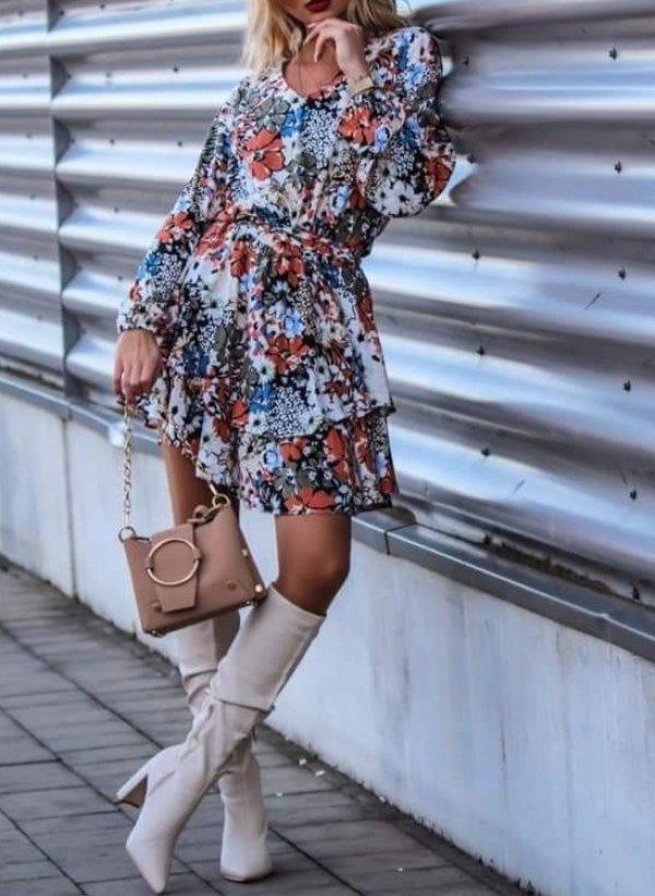 Sukienka w kwiaty multicolor Dax