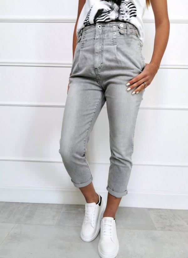Spodnie z guziczkami Catton szare