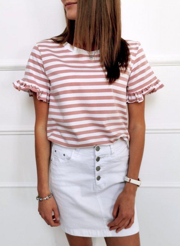 Bluzka Ferrara paseczki biało-różowa
