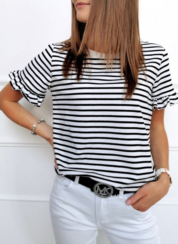 Bluzka Ferrara paseczki czarno-biała