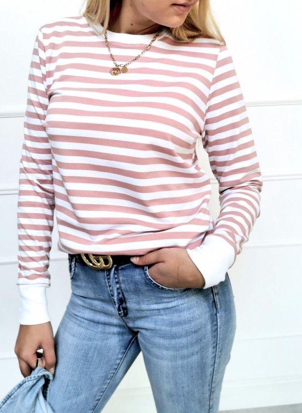 Bluza Stripes biało-różowa