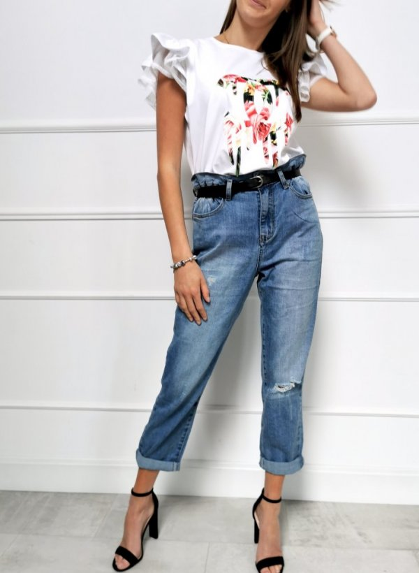 Spodnie jeansowe typu Retro z paskiem