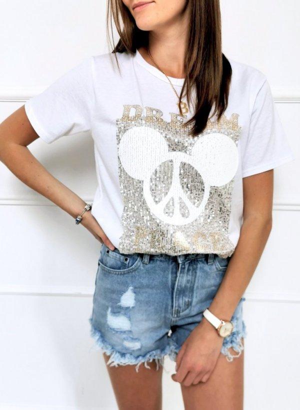T-shirt Myszka z cekinami Dream biały