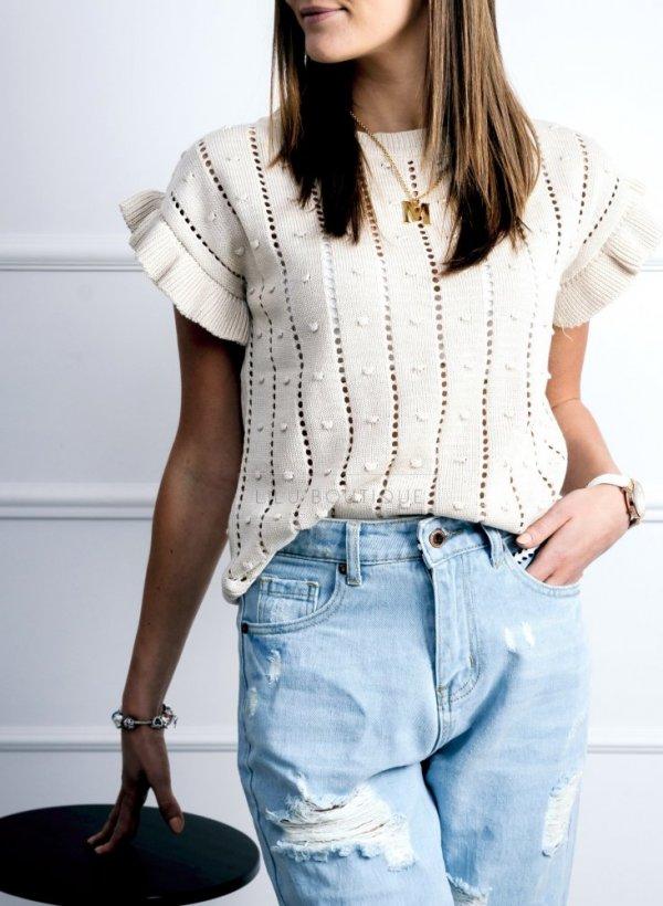 Sweterkowa bluzeczka z krótkim rękawkiem beige