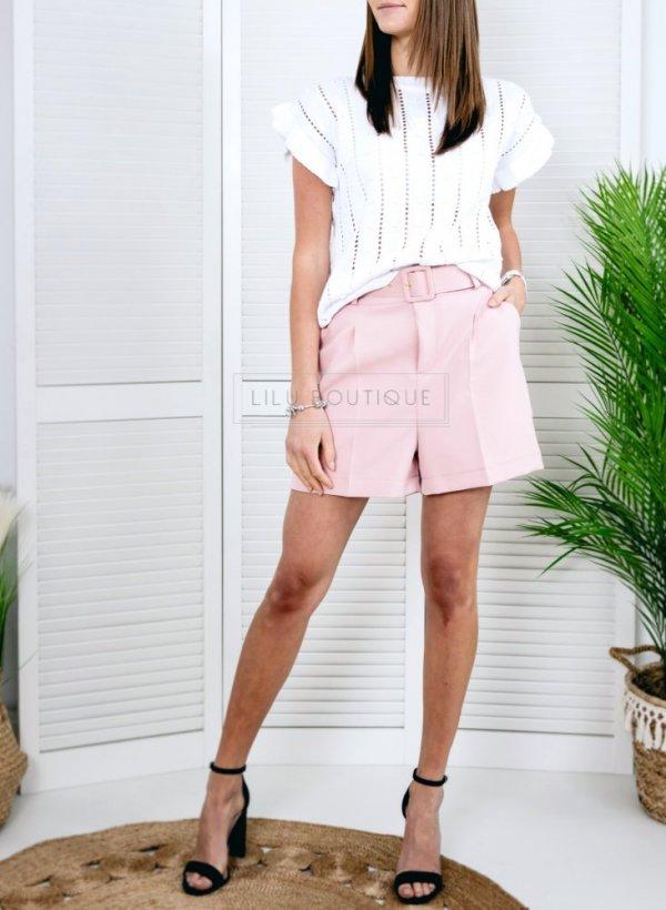 Sweterkowa bluzeczka z krótkim rękawkiem biała