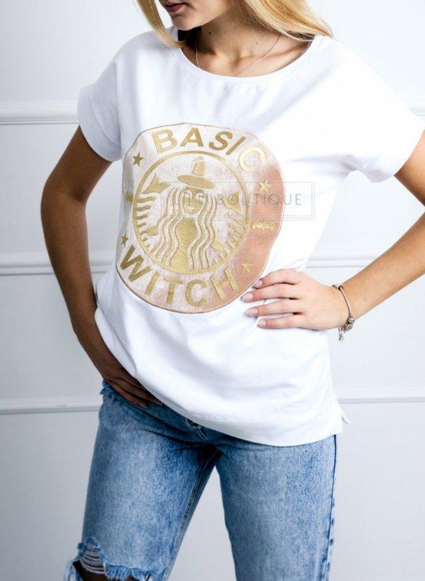 T-shirt Basic Witch biała