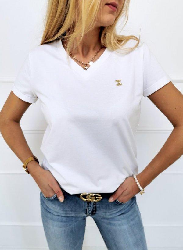 T-shirt bluzka V neck z przypinką biały