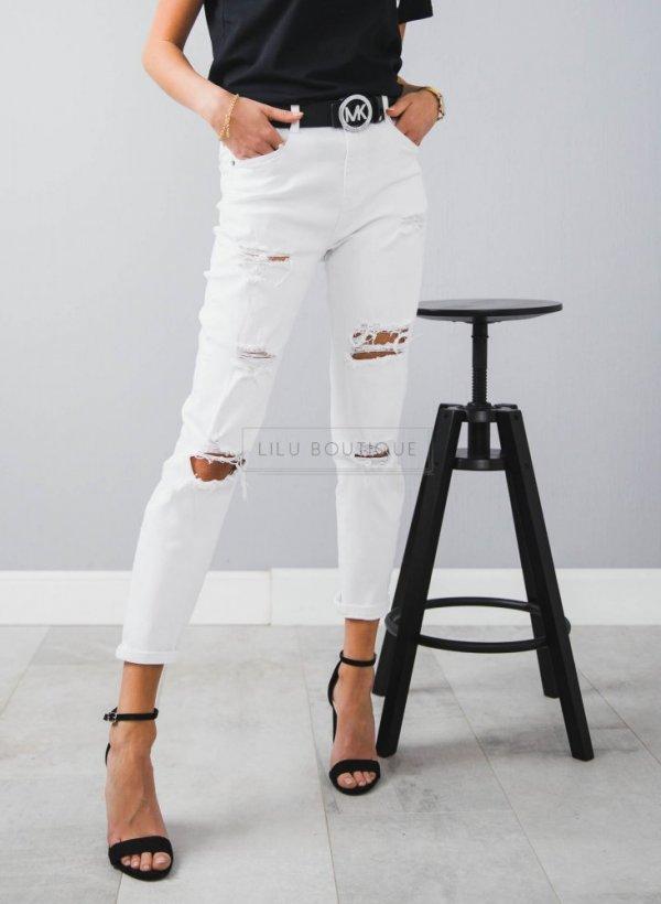 Białe spodnie z dziurami Rio