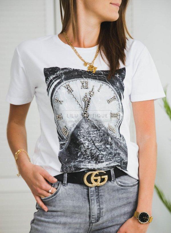 T-shirt bluzka Clock white