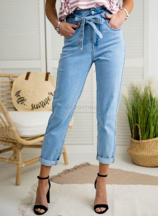 Spodnie jeansowe z wysokim stanem wiązane