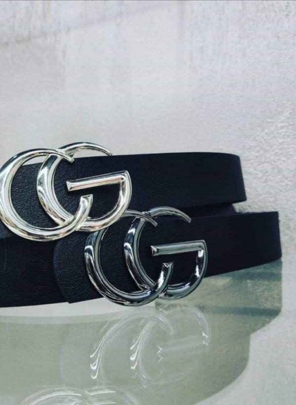 Pasek CG czarny ze srebrną klamrą