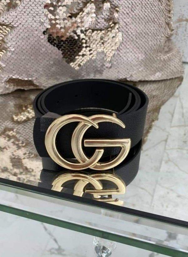 Pasek CG czarny ze złotą klamrą