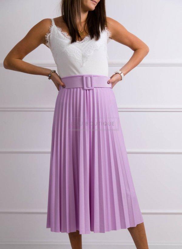 Spódnica plisowana z paskiem Ballance violet
