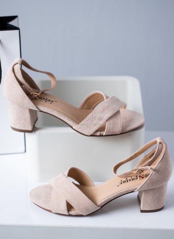 Sandały na słupku zakładane Ora beżowe