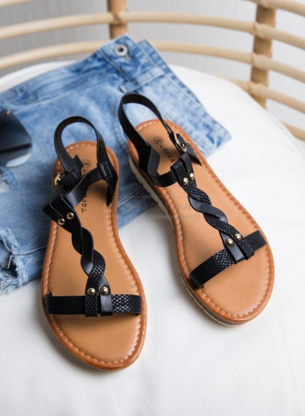 Sandały z plecionych paseczków czarne z podwyższoną piętą