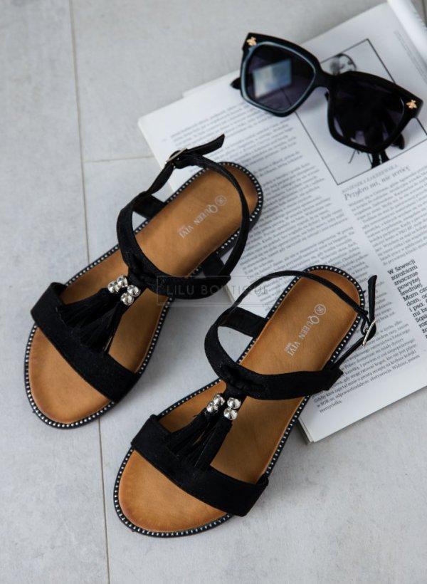 Sandały z frędzelkami i cyrkonią czarne