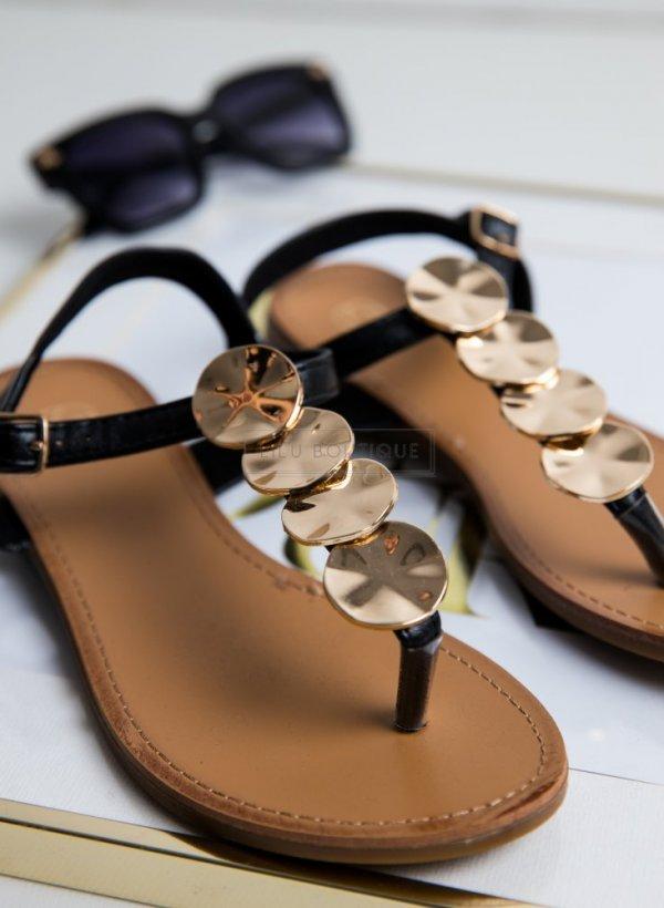 Sandały w stylu japonki ze złotymi kołami
