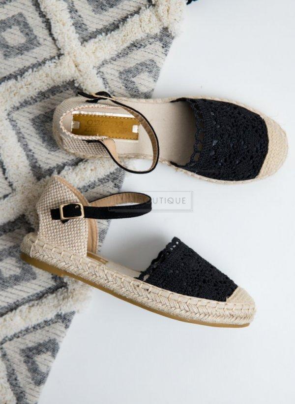 Sandały espadrylki na plecionym spodzie Sett czarne