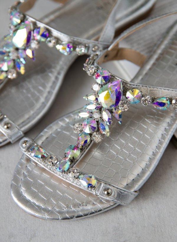 Sandały srebrne z kamieniami