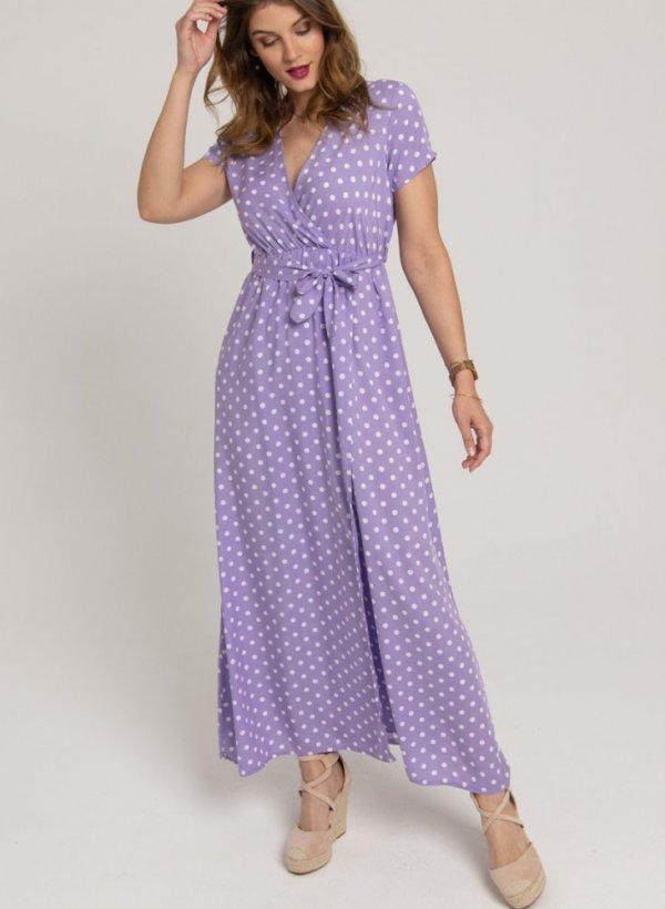 Sukienka maxi w groszki violet