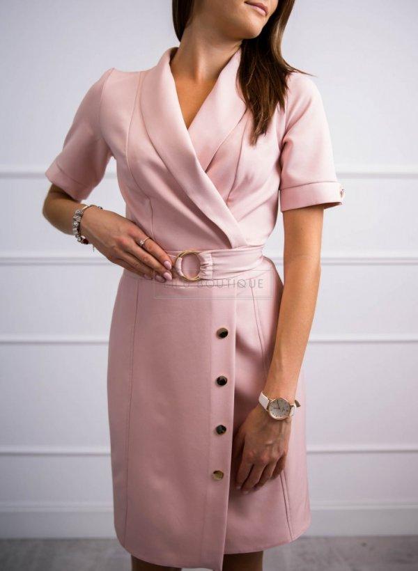 Sukienka Elegant różowa z paskiem