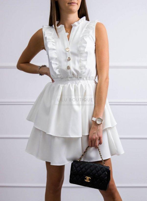Sukienka Gemma kremowa z falbankami