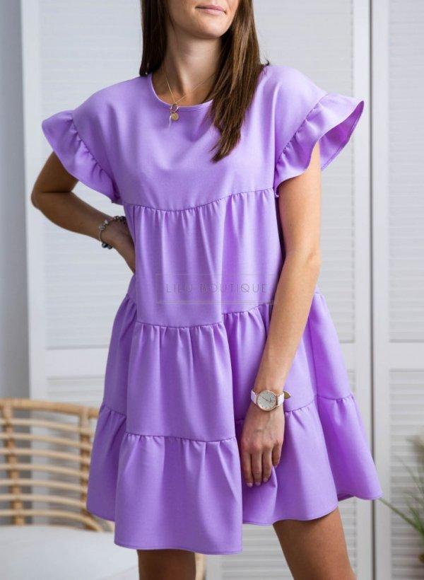 Sukienka z falbankami fioletowa Lawender