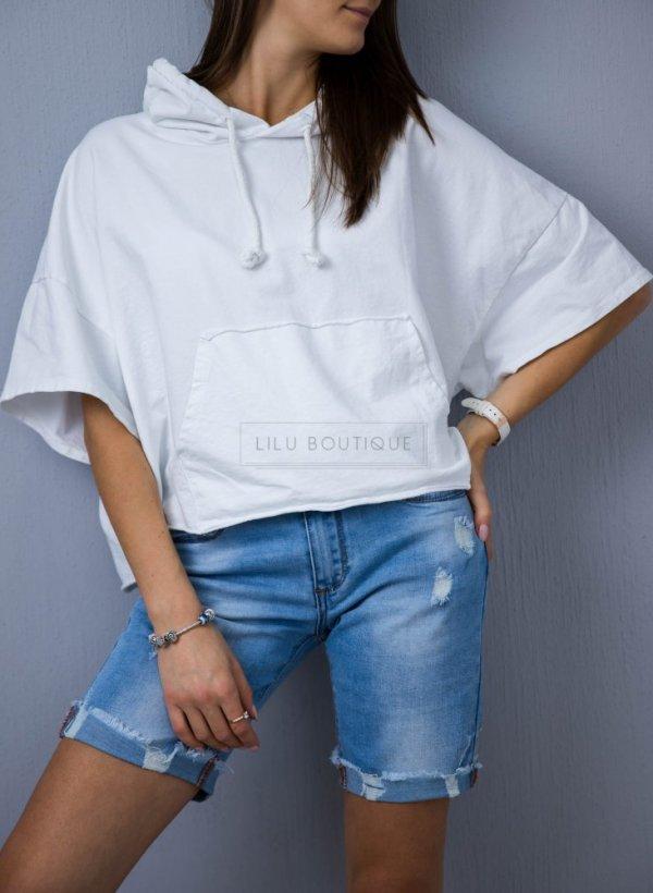 Bluza/narzutka oversizowa z kapturem krem