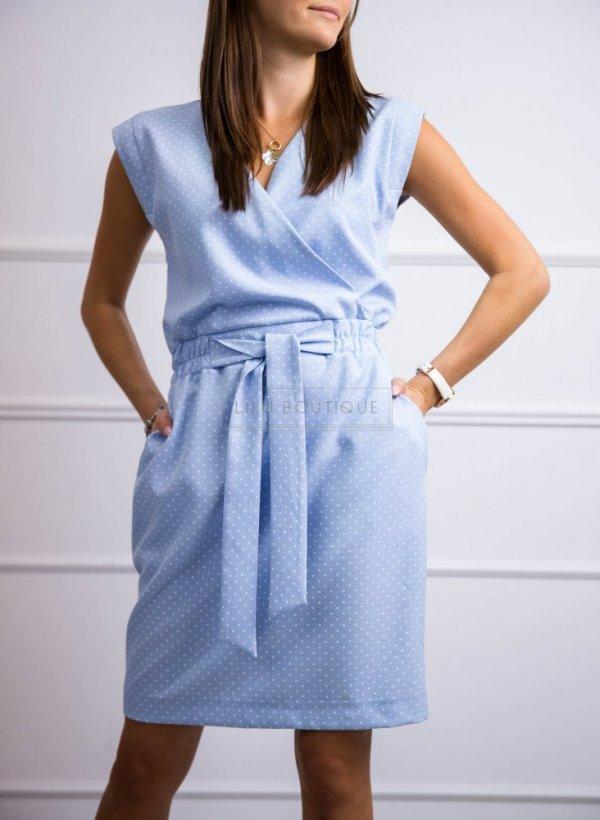 Sukienka Paradise w groszki niebieska