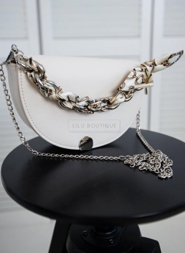 Torebka elegancka z łańcuszkiem beż