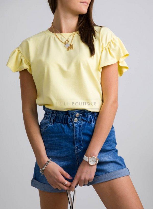 Bluzka falbankami Butterfly żółta