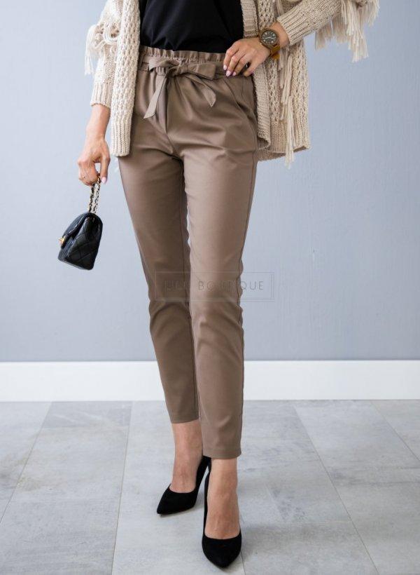 Spodnie eleganckie wiązane mocca