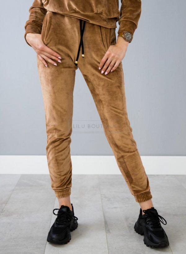 Spodnie Velsatino welurowe beżowe