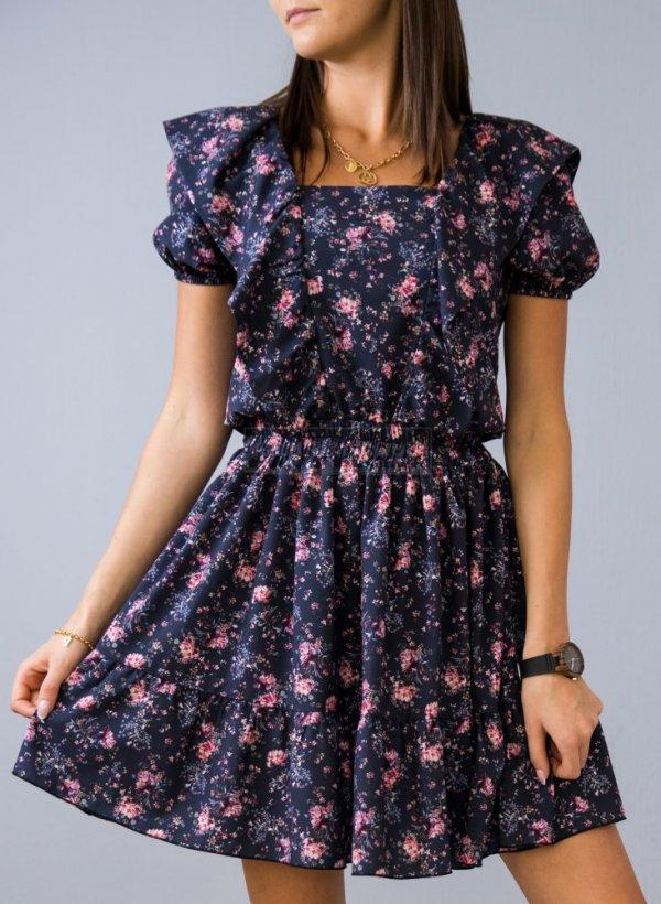 Sukienka w kwiaty Victoria granat