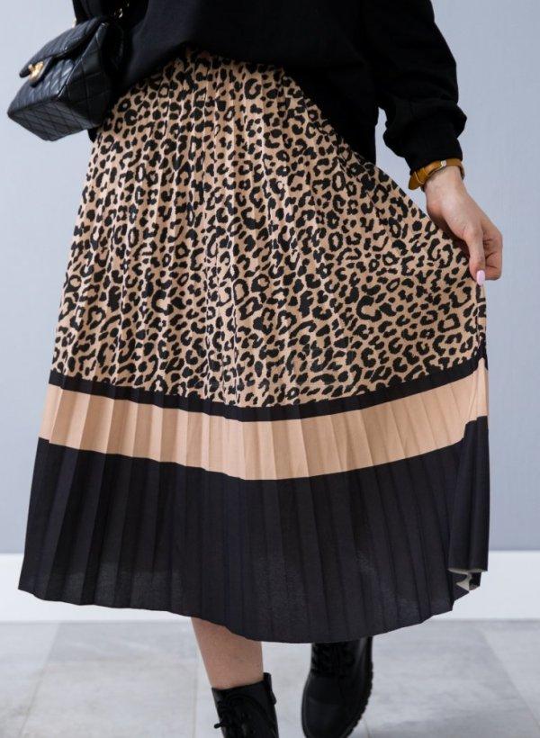 Spódnica plisowana midi w panterkę