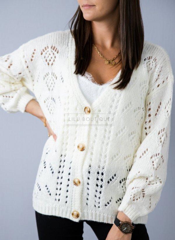 Sweter Ciao kremowy z guziczkami