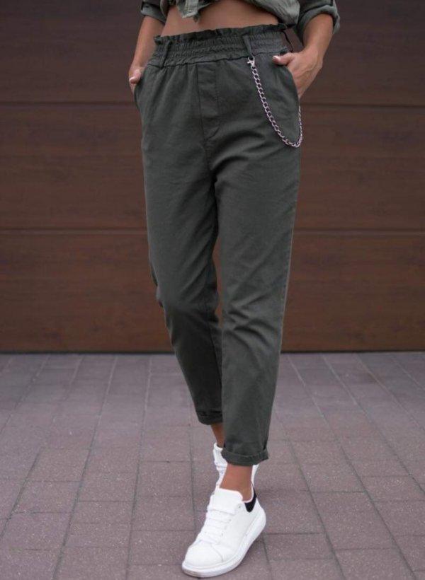 Spodnie z łańcuszkiem Goya khaki
