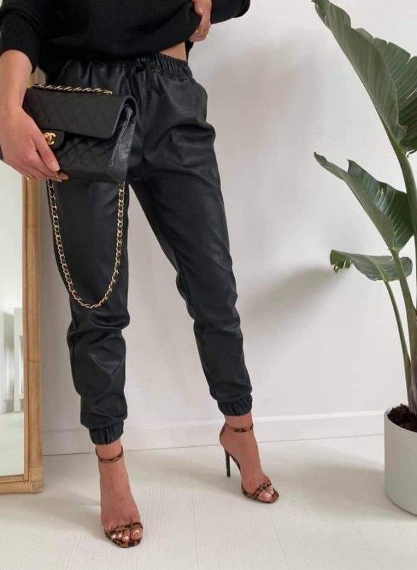 Spodnie eco skórzane Treasure czarne