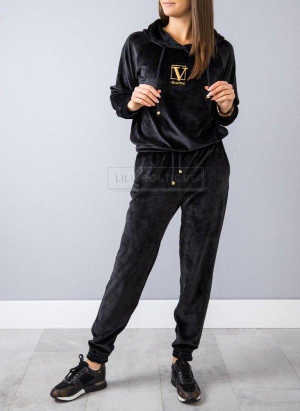 Spodnie Velsatino welurowe czarne