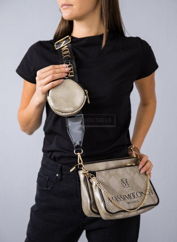 Torebka Massimo Conti czarna z mini portfelem snake gold
