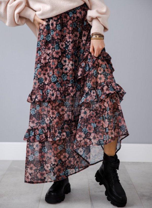 Spódnica długa w kwiaty Via
