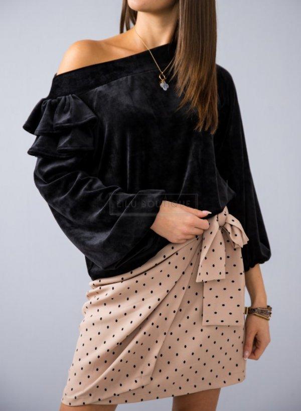 Spódnica wiązana w groszki beżowa