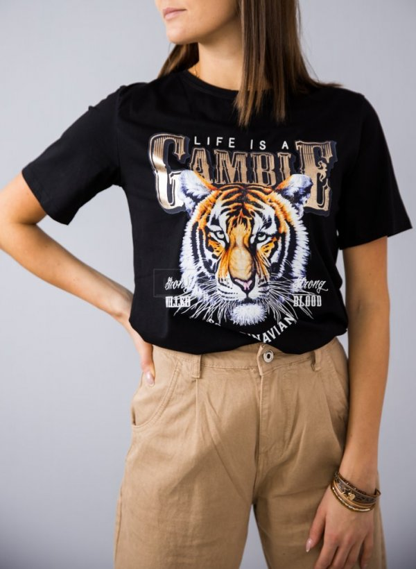 T-shirt Tiger Scandinavian czarny