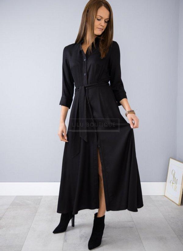 Sukienka long z kołnierzykiem Asti czarna