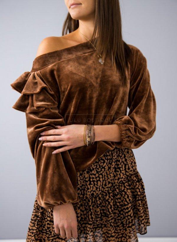 Bluza welurowa z falbanką Zoya camel